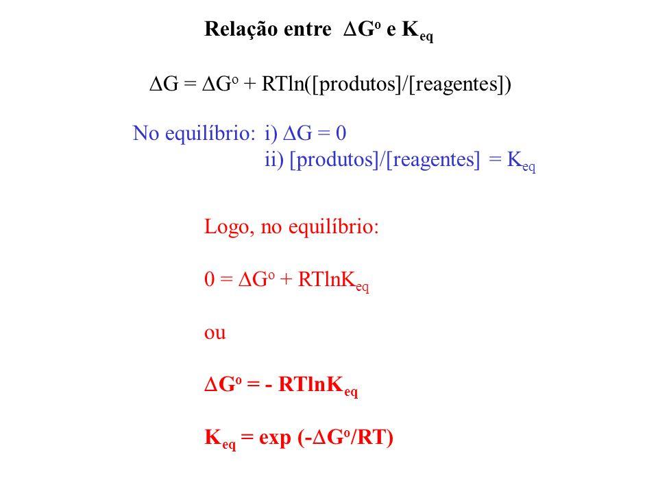 Relação entre DGo e Keq DG = DGo + RTln([produtos]/[reagentes]) No equilíbrio: i) DG = 0. ii) [produtos]/[reagentes] = Keq.